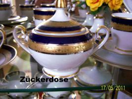 Foto 9 6er komplett Ess-u. Kaffeeservice Hutschenreuther Bavaria Germany Kobald, Gold, Platin-Rand