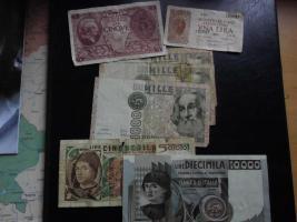 7 alte Italienische Geldscheine von 1944+1976