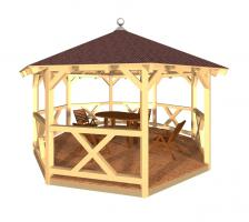 8 Eck Pavillon, Holzpavillon