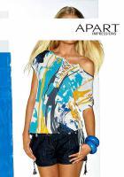 APART - Shirt mit Schn�rung wei�-t�rkis Gr. 40 - OVP - NEU