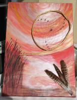 Foto 5 Abendstimmung- Dreamcatcherbild mit Federn