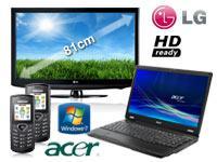 Acer Extensa 5235-902G16 Notebook+LG 32LD320 81cm(32Zoll)LCD TV+2x Samsung E1170 schwarz mit Vertrag