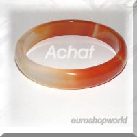 Achat Armreif -orange / weiß