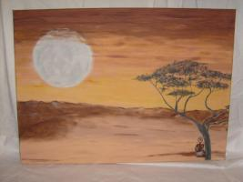 Acryl Bild auf Keilrahmen  (Wüstenmond)