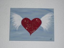 Acrylgem�lde / Bild / Keilrahmen / Herz / FLYING HEART