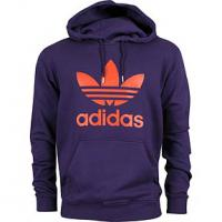Adidas Trefoil Hoodie gr. L -Herren- in lila mit orangenem Emblem
