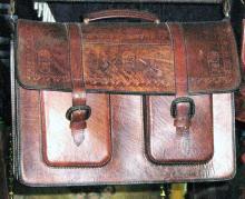 Aktentasche aus echtem weichem Rindsleder, handvernaeht groß