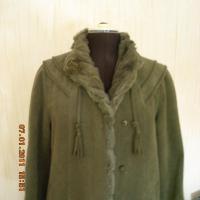 Alpaka Damenmantel, olivgrün, Gr. 40