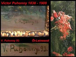 Foto 2 Alt Ölgemälde Dorf Kinder Katze Signiert V Puhonny 1893