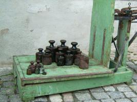 Foto 7 Alte Dezimalwaage mit Gewichten ( Schweinewaage / Sackwaage / Kartoffelwaage / Turmwaage/ Dezimal Waage)