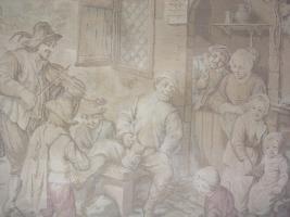 Foto 2 Alter Wandbehang Gobelin, Wirtshaus Szene, sehr schön