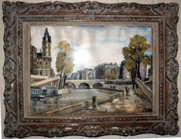 Altes Aquarell, La - Seine au Pont, von M. Sicard, Alter unbekannt.