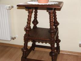 Foto 2 Antik Gründerzeit Tischchen für Blumen, Eichenholz, 70 cm hoch.