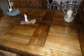Foto 3 Antike Essgruppe aus belg. Schloss - Großer Tisch m. 8 Stühlen