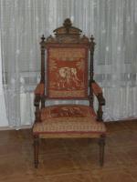 Antiker Sessel / Armlehnstuhl aus der Gründerzeit, nußbaum
