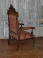 Foto 3 Antiker Sessel / Armlehnstuhl aus der Gründerzeit, nußbaum