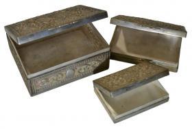 Antikes Silberdosen Set dreiteilig