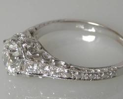 Antique style 0,73 cts Diamant-Verlobungsring 18k