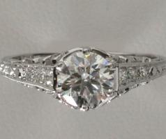 Foto 3 Antique style 0,73 cts Diamant-Verlobungsring 18k