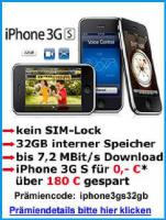 Apple iPhone 3G S 32GB f�r 0, -* -sofort lieferbar