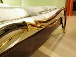 Armonie ESSEBI Designer Metallbett in Anthrazit mit echt Gold
