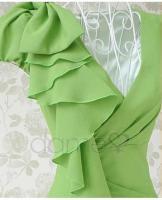 Asymmetrische Grün Ruffle Fair Lady Kleid