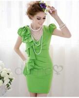 Foto 2 Asymmetrische Grün Ruffle Fair Lady Kleid