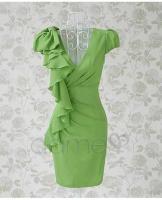 Foto 3 Asymmetrische Grün Ruffle Fair Lady Kleid