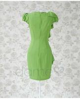 Foto 4 Asymmetrische Grün Ruffle Fair Lady Kleid