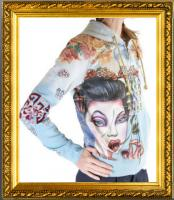 Audigier Ed Hardy Crystal Rock Hoodie Tattoo Geisha Jacke Sweatshirt