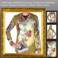 Audigier Ed Hardy Crystal Rock Hoodie Tattoo Geisha Jacke Sweatshirt oliv