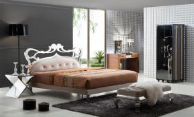 Ausgefallenes Stilvolles Italien Design Bett Athena aus Holz Edelstahl