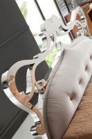 Foto 3 Ausgefallenes Stilvolles Italien Design Bett Athena aus Holz Edelstahl