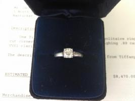 Auth. Tiffany & Co Lucida Platin Diamant-Ring VVS1 0.89ct