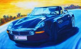 Auto gemalt, Autogemälde, Autozeichnung