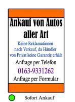 Autoankauf Neuenrade NRW - PKW Ankauf & Verkauf 0163-9331262 NRW