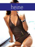 Badeanzug mit Schmucksteinen braun - heine - Gr. 36 B-Cup - Neu & OVP