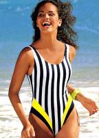 Badeanzug, schwarz/weiß/gelb