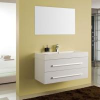 Bademöbel EURO FORTE Pro-Fit 100cm weiss, inkl. Mineralguss-Waschtisch und Spiegel