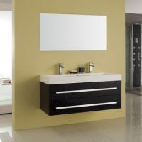 Bademöbel EURO FORTE Pro-Fit 120cm schwarz, inkl. Mineralguss-Doppelwaschtisch und Spiegel