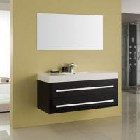 Bademöbel EURO FORTE Pro-Fit 120cm schwarz, inkl. Mineralguss-Waschtisch und Spiegel