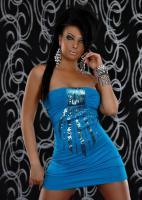 Bandeau Minikleid mit Pailletten in blau Gr. S/M