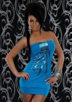Foto 2 Bandeau Minikleid mit Pailletten in blau Gr. S/M