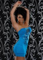 Foto 3 Bandeau Minikleid mit Pailletten in blau Gr. S/M