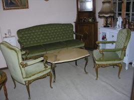 Barock - Antik Stil - 2 Sessel, 1 Sofa, Tisch mit Marmorplatte