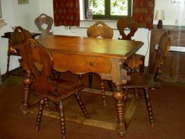 Bauerntisch mit 6 St�hlen dklbraun