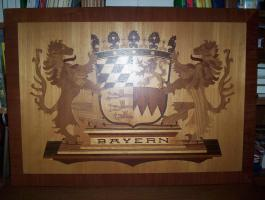 Bayernwappen in Holz