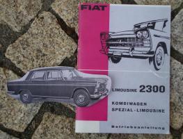 Betriebsanleitung Fiat 2300 Lim. 1962