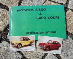 Betriebsanleitung Honda S 800 Coupé Cabriolet / 1968