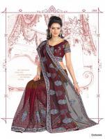 Bezauberndes Bollywood net Sari (Saree) mit Handarbeit inkl. Blusenstoff